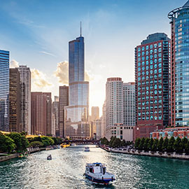 Chicago city skyline on river