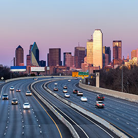 Downtown Dallas skyline and road